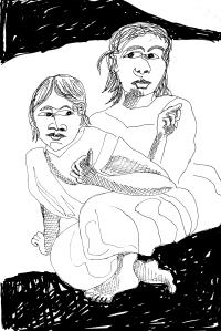 Gaugin Reclining Tahitian Women 2; ink; 2015