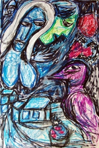 Marc Chagall 1; ink, oil, pastel; 2015