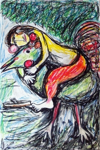 Marc Chagall 3; ink, oil, pastel; 2015
