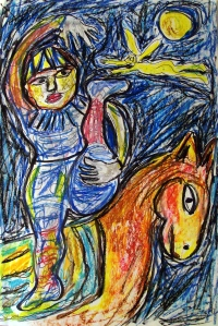 Marc Chagall 7; ink, oil, pastel; 2015