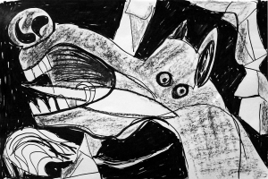 Picasso Guernica 3; ink, oil, pastel; 2015