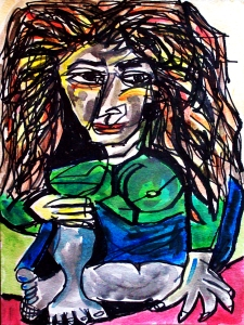 Picasso Woman 3; ink, gouache on paper; 2014