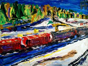Burnaby BC Winter Train oil on canvas panel, 8x10, 2016