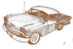 Klassic Karz 1958 Chevrolet Impala ink, digital color, 2017