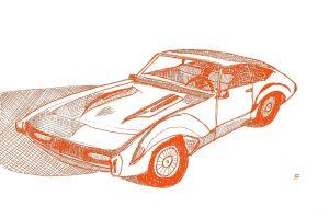 Klassic Karz 1967 Oldsmobile Tornado ink, digital color, 2017