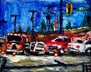 Surrey BC Intersection Acciden oil on canvas panelc8x10, 2017